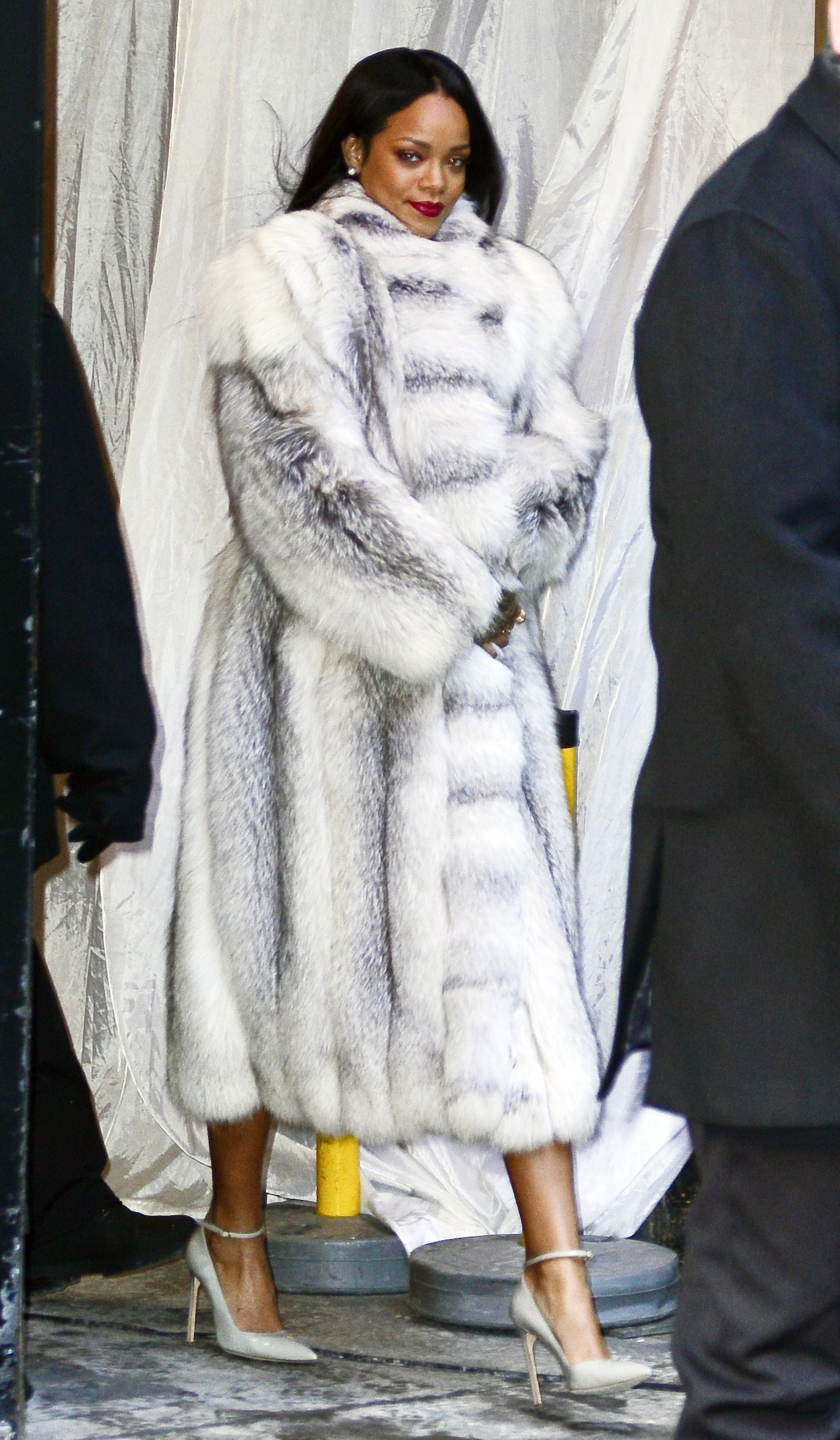 "Rihanna leaving ""Good Morning America"" in a fur coat. Pictured: Rihanna Ref: SPL689878 290114 Picture by: North Woods / Splash News Splash News and Pictures Los Angeles:310-821-2666 New York: 212-619-2666 London: 870-934-2666 photodesk@splashnews.com"